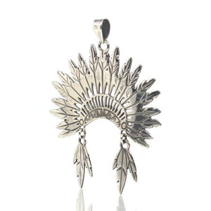 Sterling Silver Feather Headress Pendant