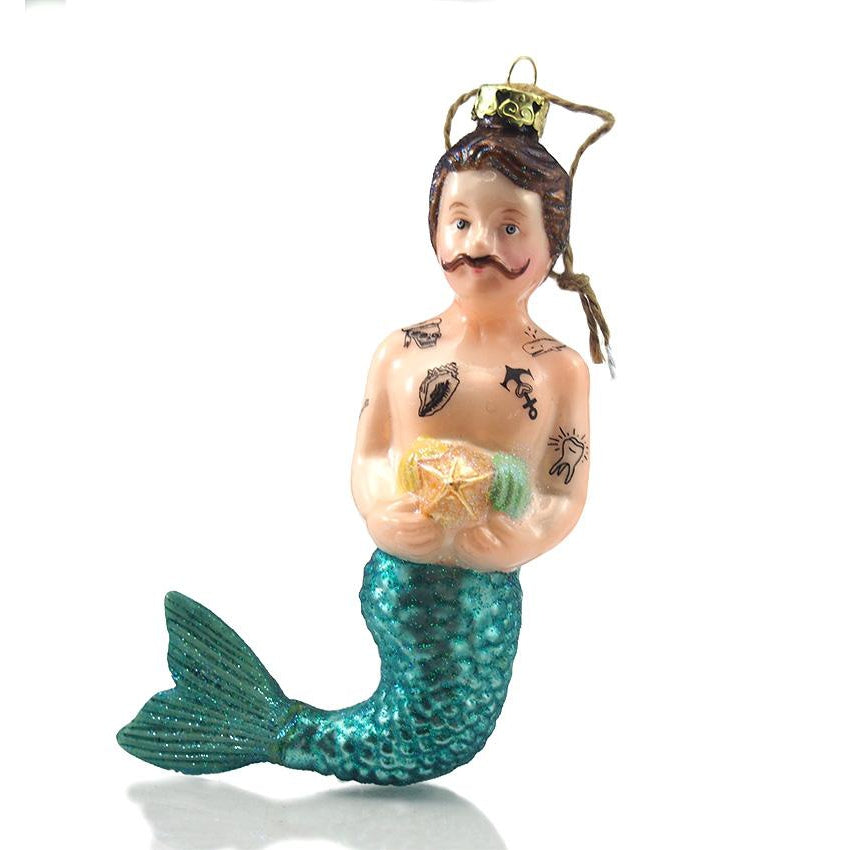 Large Tattooed Merman Glass Ornament