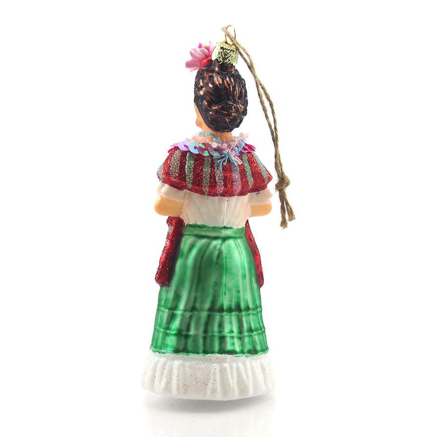 Frida Kahlo Glass Ornament with Sequins