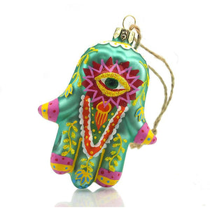 Hand of Fatima/Hamsa Glass Ornament, D