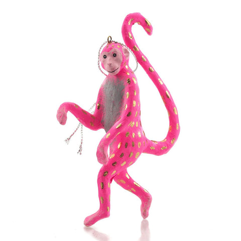 Curious Pink Monkey Handmade Ornament, B