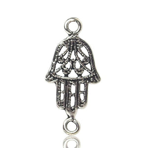 Sterling Silver Hamsa Fishes Mini Connector