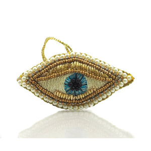 Gold Eye Beaded Fabric Ornament
