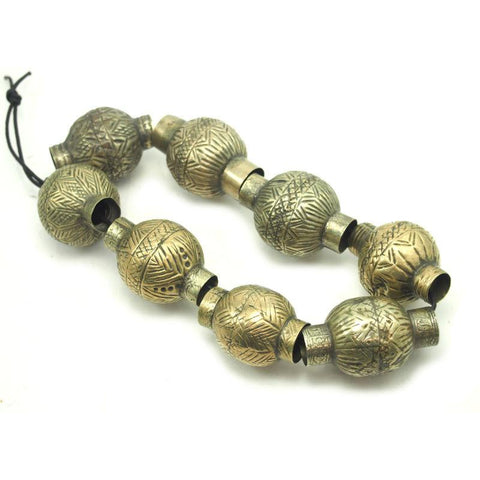 Pashtun XL Vintage Hand Hammered and Etched Dowry Currency Beads from Afghanistan