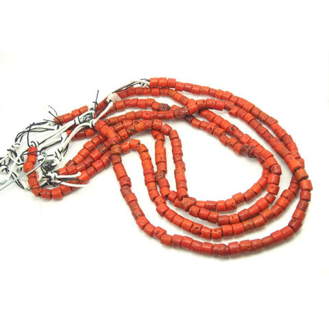 "Naga ""Coral"" Heirloom Glass Long Strands from India ca 1950"