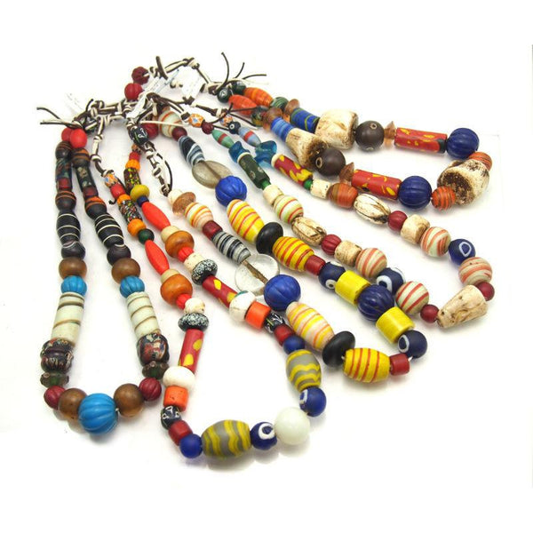 Naga Heirloom Fancy Mix Bead Necklaces of Indian Trade Glass ca 1940-60