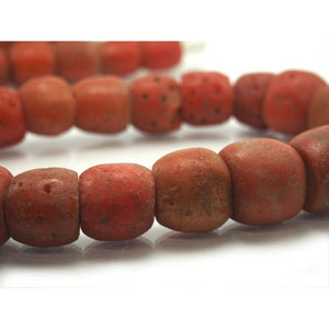 "Yoruba Antique Powder Glass ""Coral"" Beads from Nigeria Large Size Full Strand"