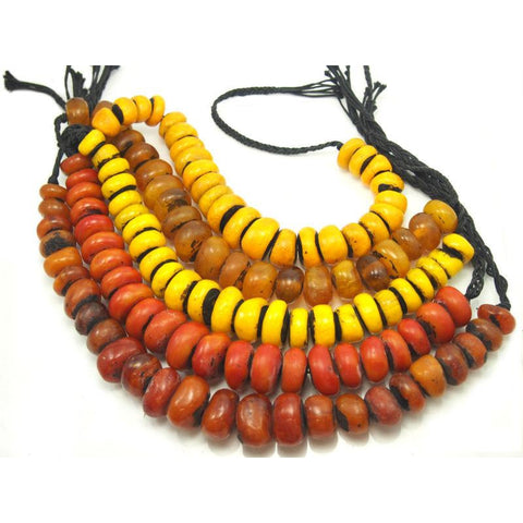 "Berber Cast Resin ""Amber"" Dowry Necklaces Medium Size"