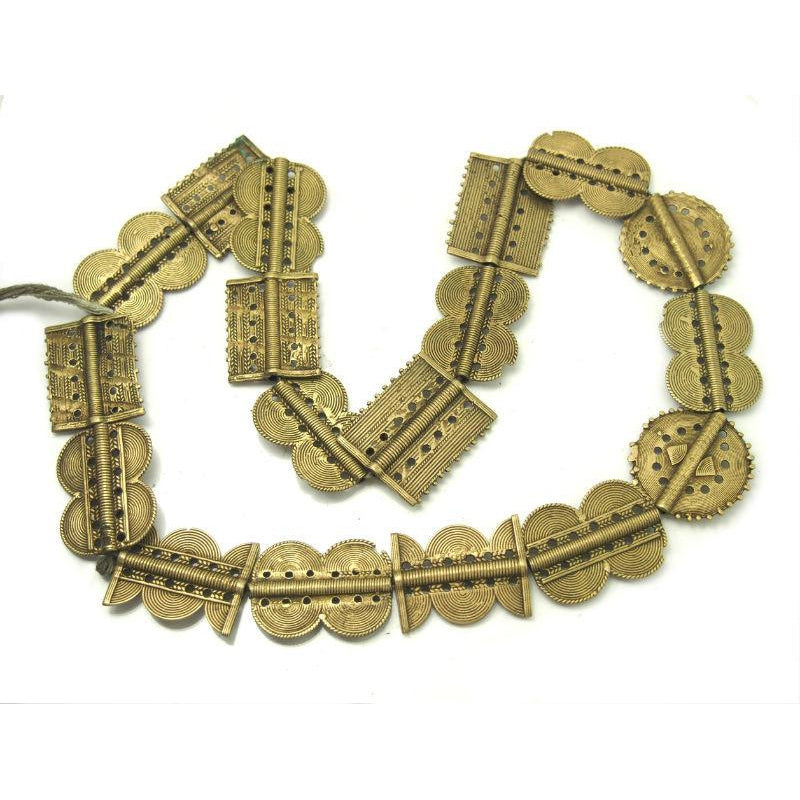 Baoule Authentic Hand Cast Brass Beads Necklace XL with Figure 8's and Hour Glass Shapes Mixed