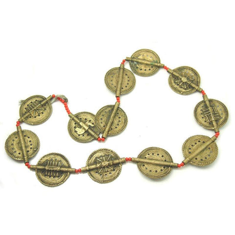 Baoule Authentic Hand Cast Brass Beads Necklace Medium with Classic Sun Disc Shapes Punched Holes and CLASSIC ASANTE GOLD WEIGHT MOTIF DESIGNS