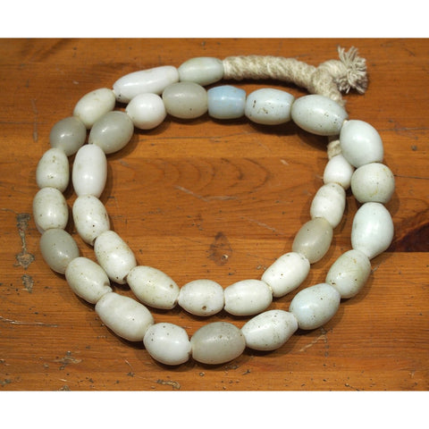 "18th to 19th Century Large White Dutch Wound Dogon ""Egg"" Trade Beads 2"