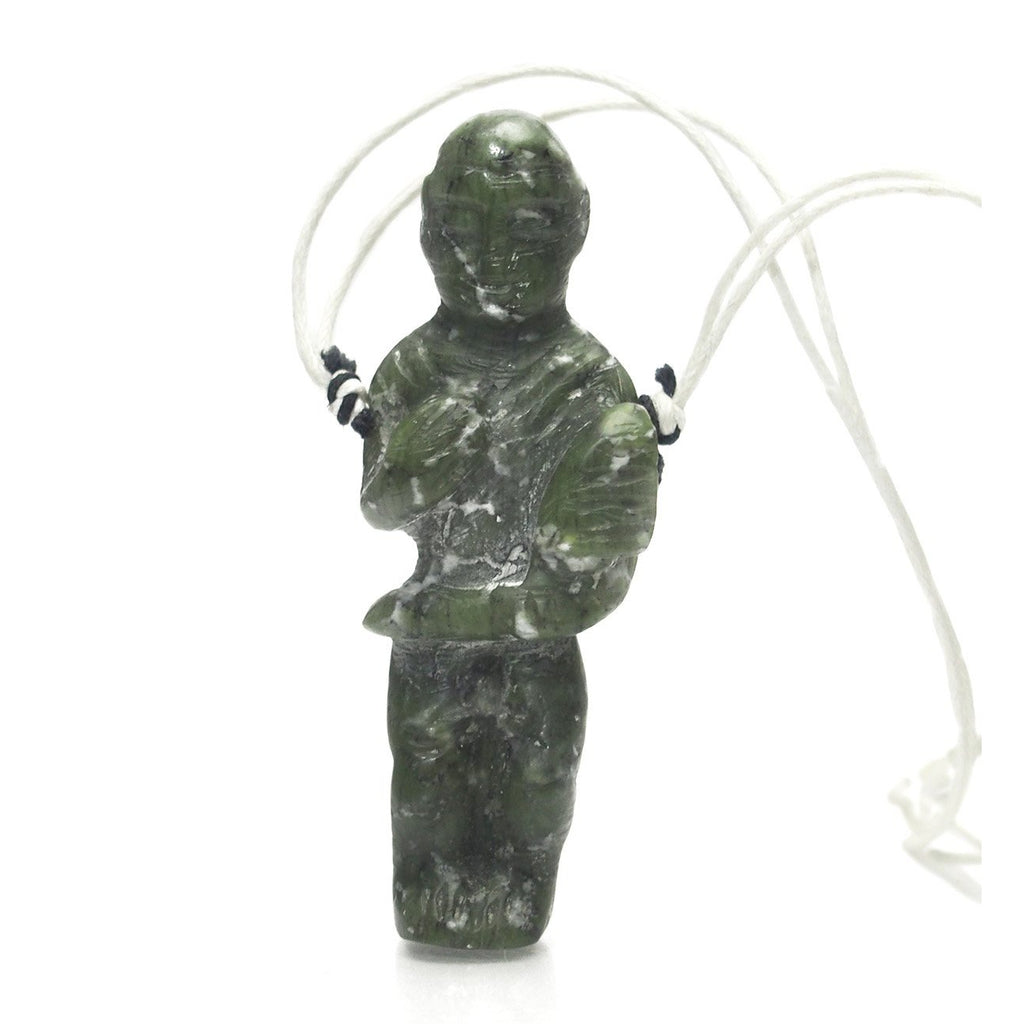Bowenite Jade Monk Figure Carrying Lotus Blossom