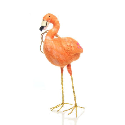 Felt Orange Flamingo Ornament, A