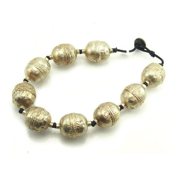 Ethiopian Bicone Hand Hammered Copper Beads Plated Silver
