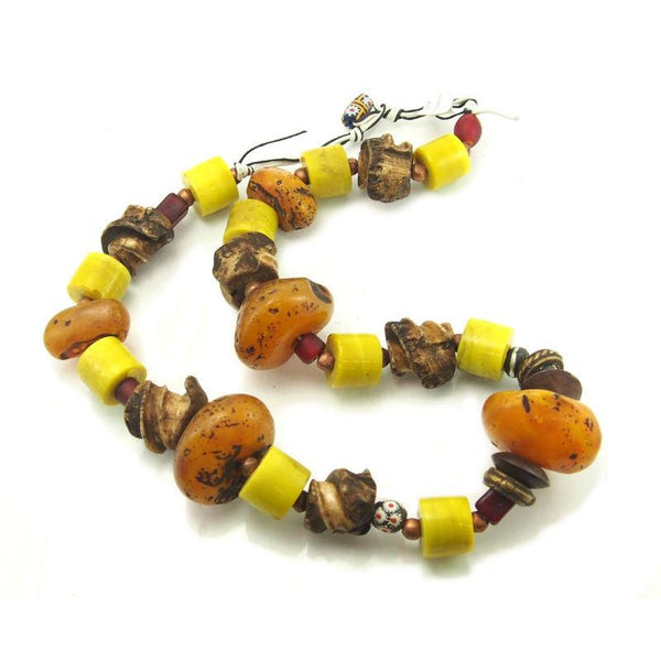 "Tibetan Resin ""Amber"" Dowry Bead Necklace with Exquisite Hand Wound Glass ""Amber"" Beads and Antique Giant Conch Ear Spiral Beads and Antique Brass Dowry Rings Necklace 4"