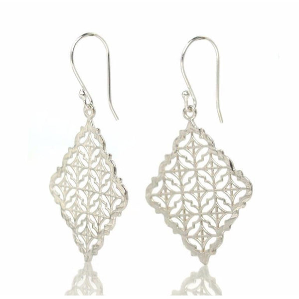 Sterling Silver Filigree Kite Earrings