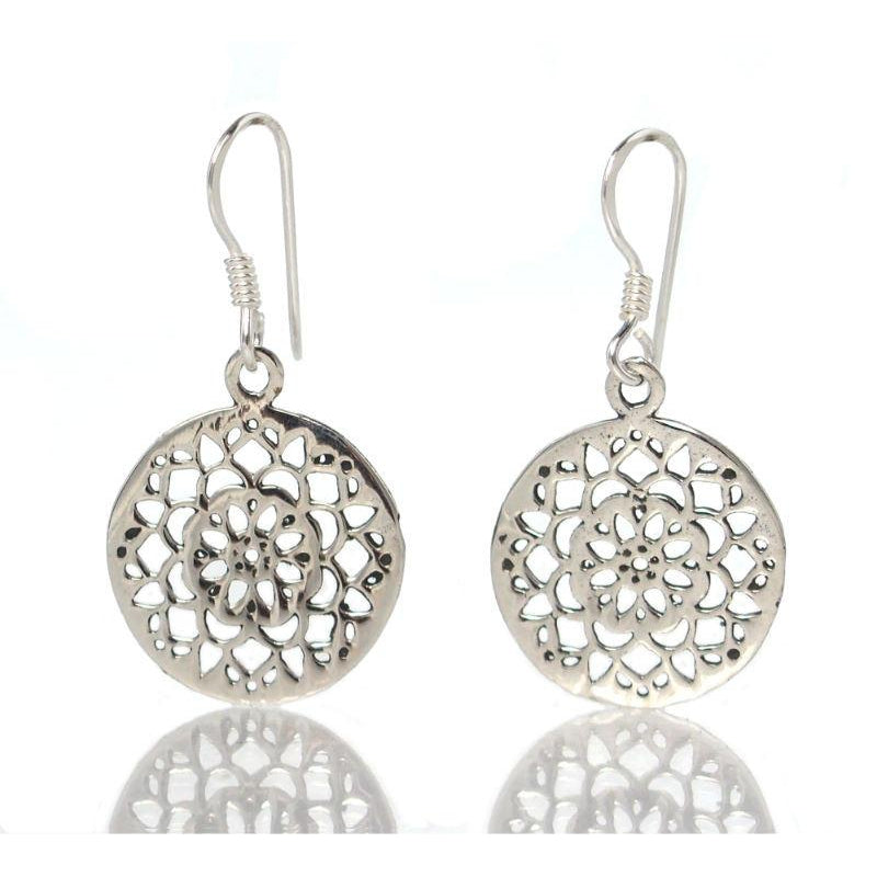 Sterling Silver Mandala French Wire Earrings