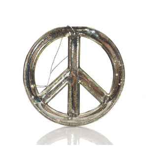 Gold Glass Peace Sign Ornament