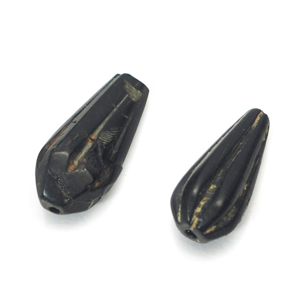 Jet Talismanic Fluted Heirloom Beads