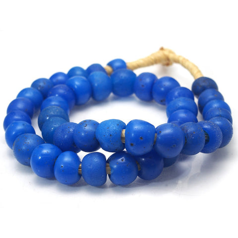 Dutch Cerulean Blue Hand Wound Beads 18th-19th Century Dogon Heirloom Beads