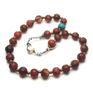 "Brotherly Love 26: Heirloom Chalcedony Agate Beads with Petrified Palmwood Batik ""Pumtek"" Beads from Burma and Carnelian Heirloom Dowry Beads from India"