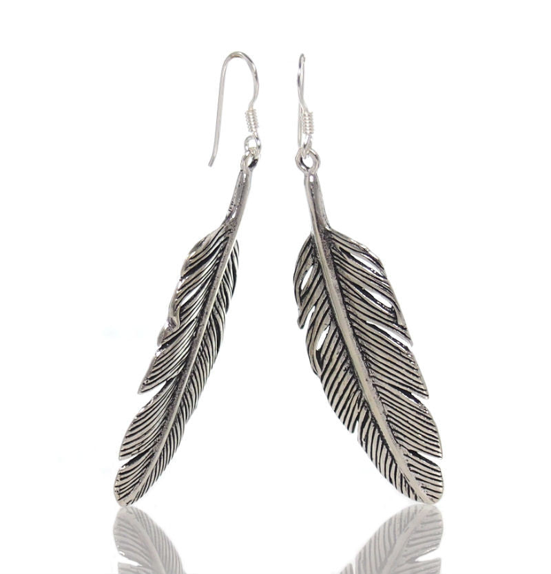 Sterling Silver Feather Earring (Thick)