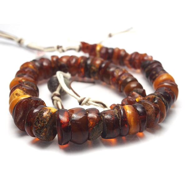 Natural Baltic Amber Sliced Nugget Trade Necklace/Strand