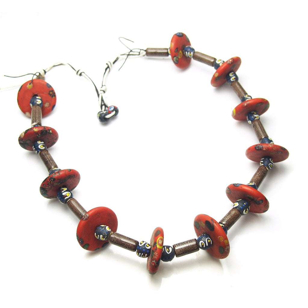 "Brotherly Love 25: Indian ""End of the Day"" Glass Bead Disc Bead with Indian Glass ""Amber"" Column Beads and Naga Shell Heirloom Beads"