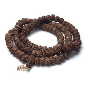 "Brotherly Love 16: Bodhi Seed XL Mala with Arca Shell Spacers with Rudraksha XL Mala and Heirloom Arca ""Sacred Shank"" Beads and Sumatra Amber XL Tasbih Prayer Strand and Mauritanian Heirloom Arca Shell Currency Beads"