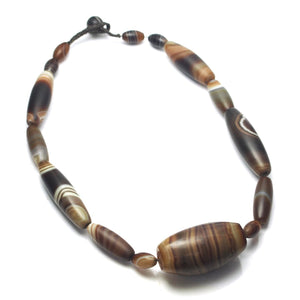 Brotherly Love 24: Banded Agate/ Suleiman Agate Heirloom Beads with Nepal Mid 20th Century Needle Cases