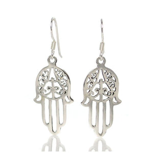 Sterling Silver Hamsa Tree Earrings