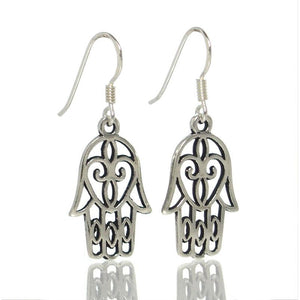 Sterling Silver Hamsa Heart Earrings