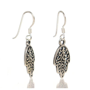 Sterling Silver Hamsa French Wire Earrings
