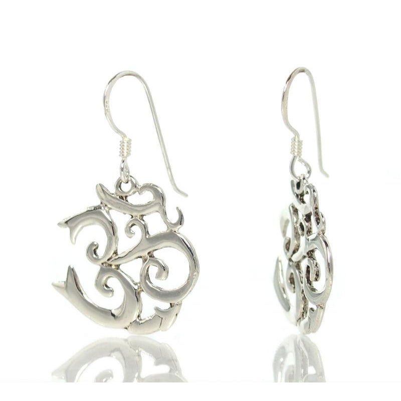 Sterling Silver Fancy Script Om Earrings