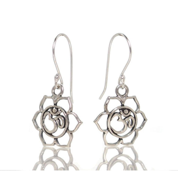Sterling Silver Om Flower Earrings
