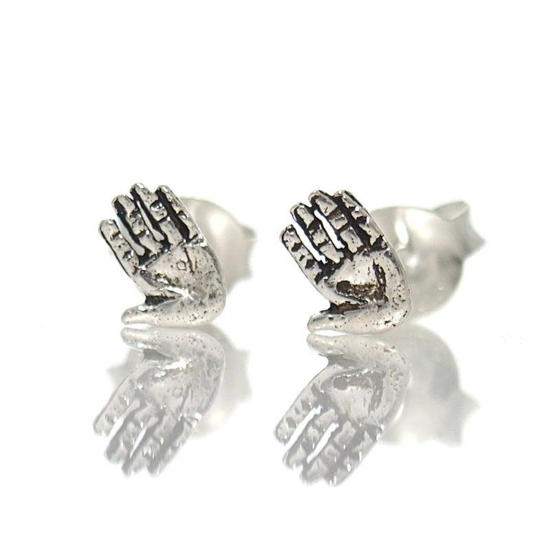 Sterling Silver Tiny Hand Stud Earrings