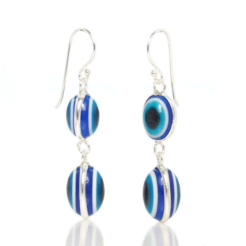 Sterling Silver Double Deep Blue Eye Earrings