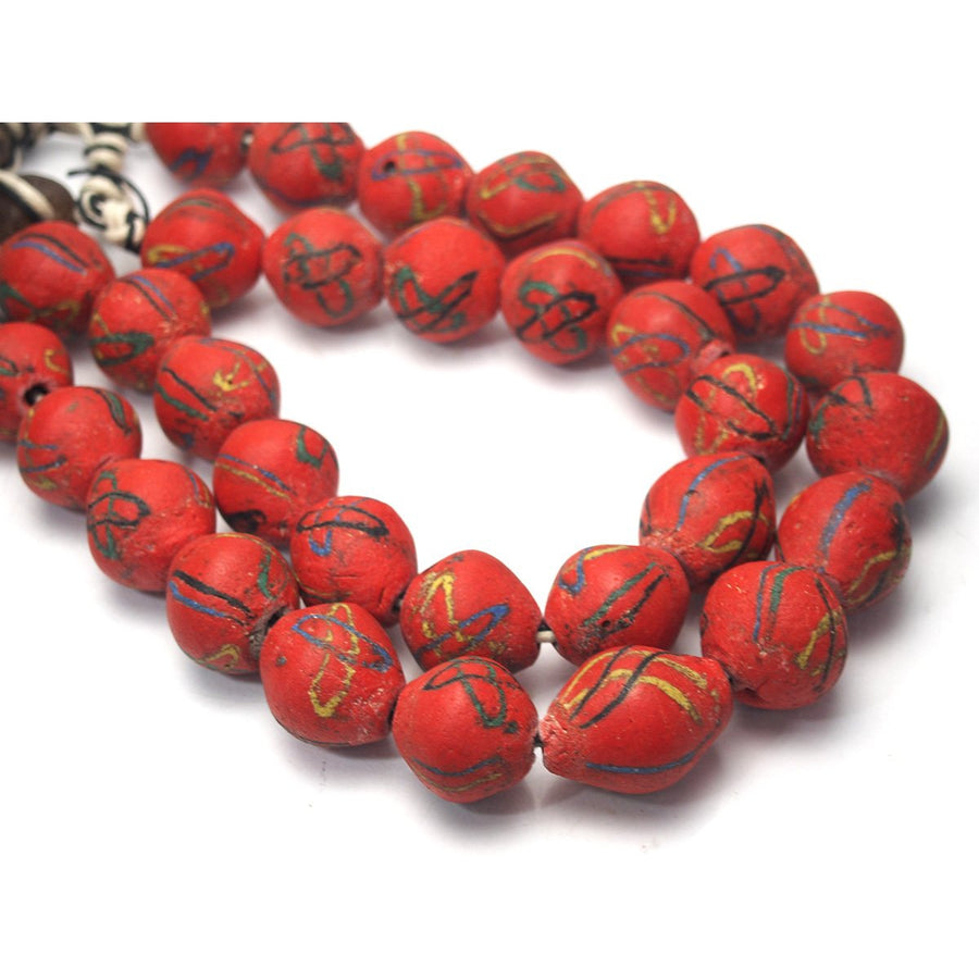 "Brotherly Love 20: Akosa Rare Red Heirloom Powder Glass Beads from Ghana with 19th Century Asian Trade Glass ""Dzi"" Beads and 19th Century Six Layer Venetian Chevrons and Pygmy ""Practice/ Grieve Shield"" from Zaire"