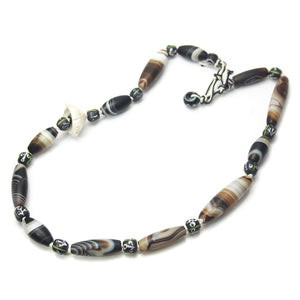 Brotherly Love 19: Banded Agate Heirloom Beads with Antique Shell Heishi Beads from Kenya and Arca Shell Hand Carved Heirloom Beads from Mali with Vietnamese Hill Tribe Snuff Containers