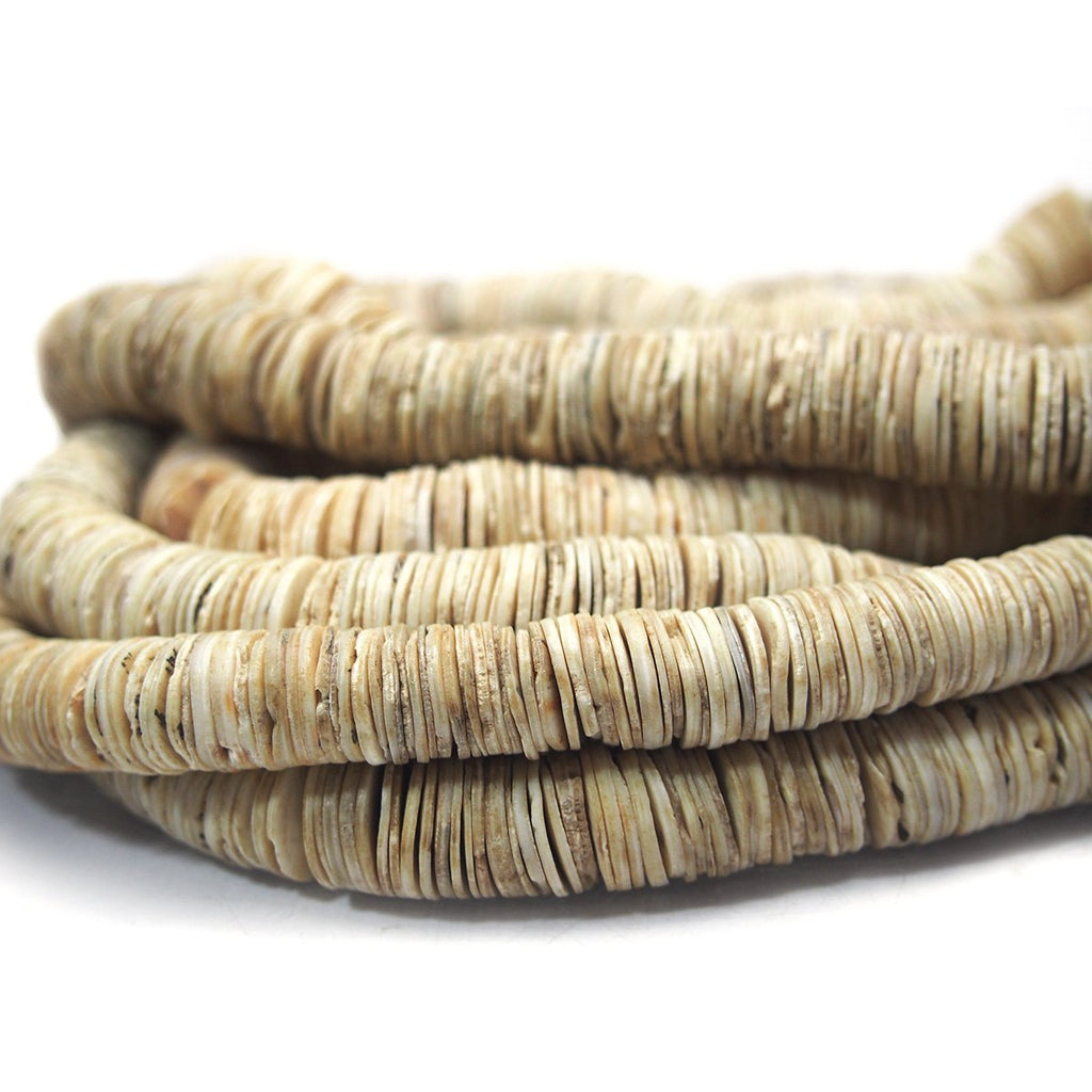 Antique Shell Heishi Beads Extra Thin from Kenya