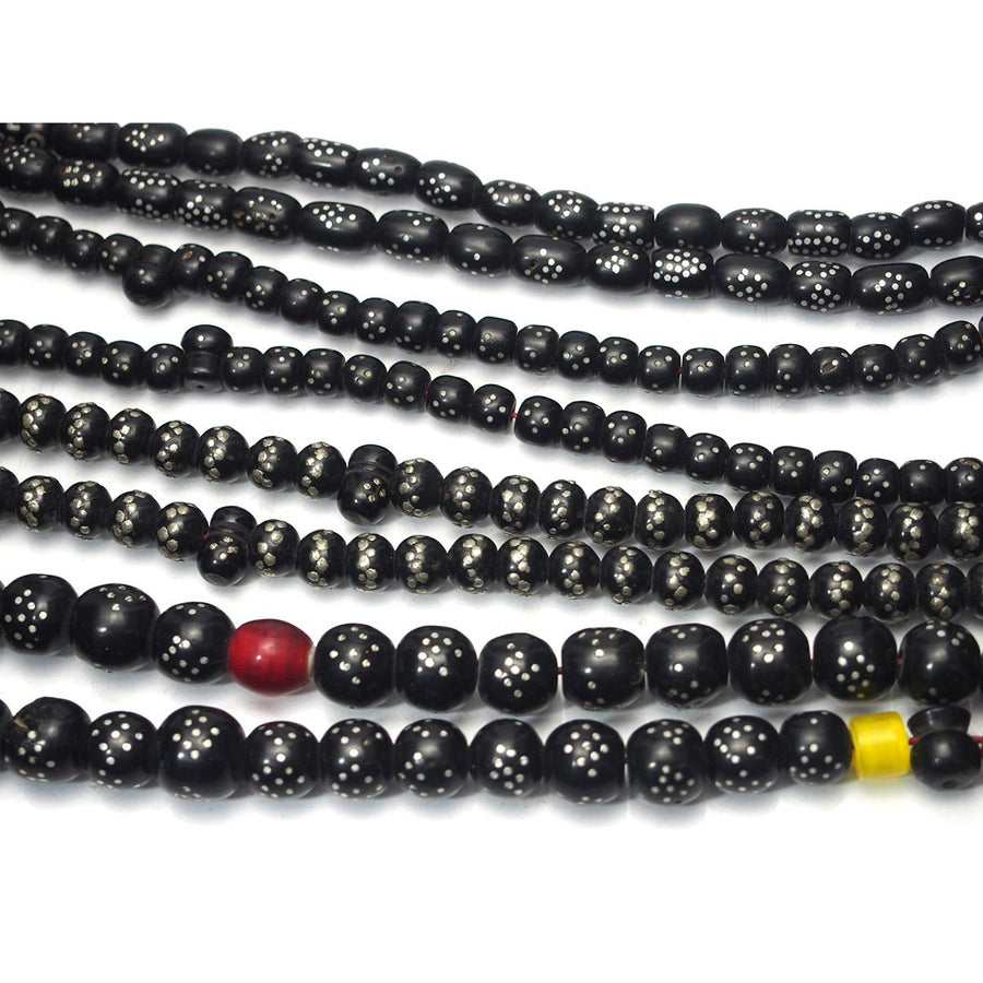 "Brotherly Love 17: Yemen Heirloom Black Resin ""Black Coral"" Prayer Beads Inlaid with Silver"