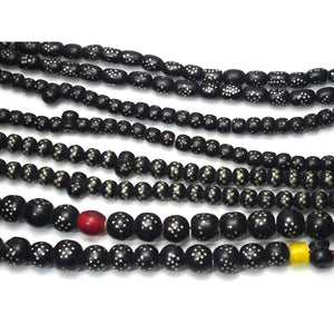 "Yemen Heirloom Black Plastic Resin ""Black Coral"" Prayer Beads Hand Inlaid with Silver"
