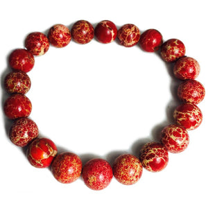 Red Tinted Creek Jasper 10mm Rounds Stretch Bracelet