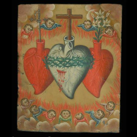 Sagrada Corazon de Jesus, Maria and Miguel/ The Sacred Hearts of Jesus, Mother Mary, and Saint Michael