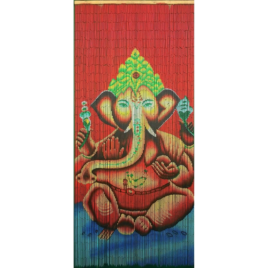 Bamboo Beaded Curtain Hand Painted-Ganesha