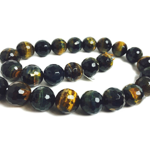 Tiger's Eye Blue Faceted 16mm Rounds