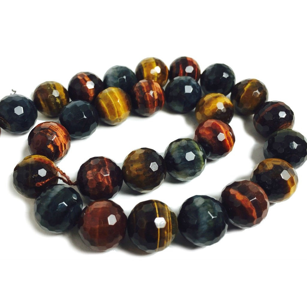 Tiger's Eye Red, Golden and Blue Faceted 14mm Rounds Strand