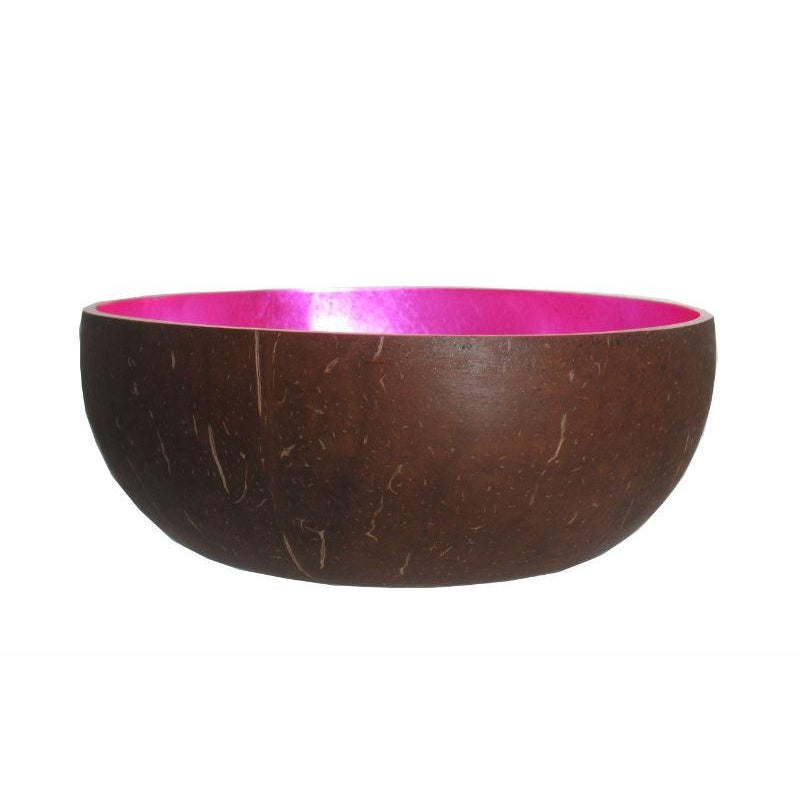Metallic Lacquer Coconut Bowl from Vietnam, Fuchsia
