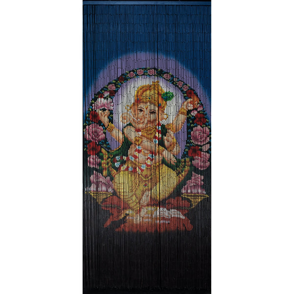 FINAL SALE Factory Second Bamboo Beaded Curtain - Dancing Ganesha