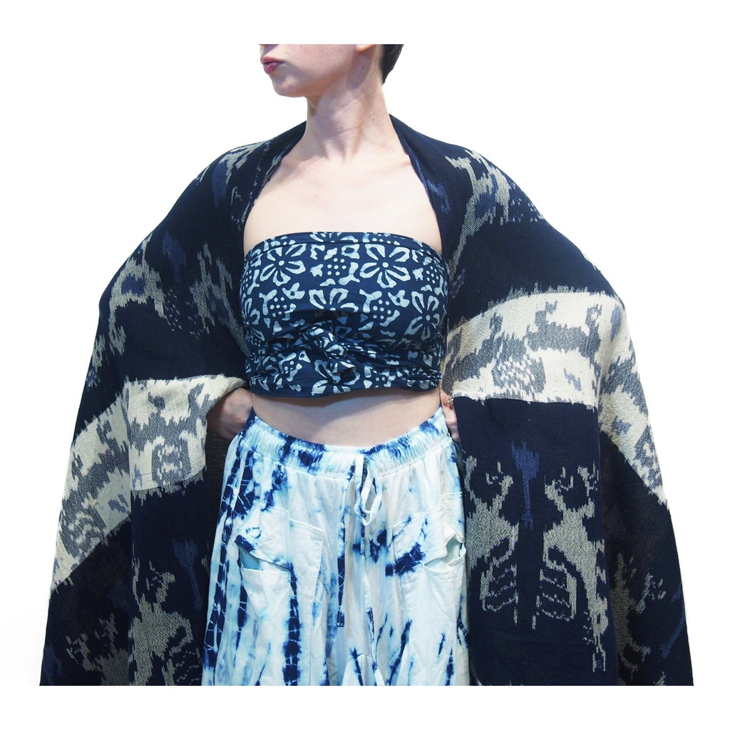 Sumba Indonesia Indigo Batik Cloth With Thai Indigo Batik Scarf And Tie Dye Parachute Skirt Blue/White 17